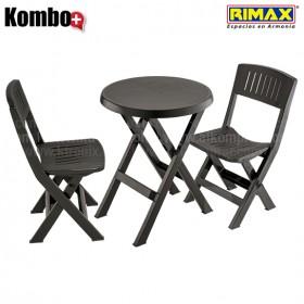Kombo Plegable RIMAX: 1 Mesa redonda + 2 Sillas