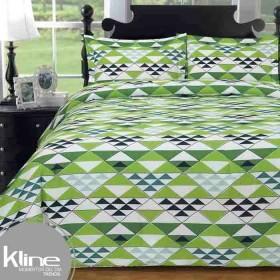 Edredón K-LINE Queen Triangulos Verdes 144 Hilos Algodón 100%