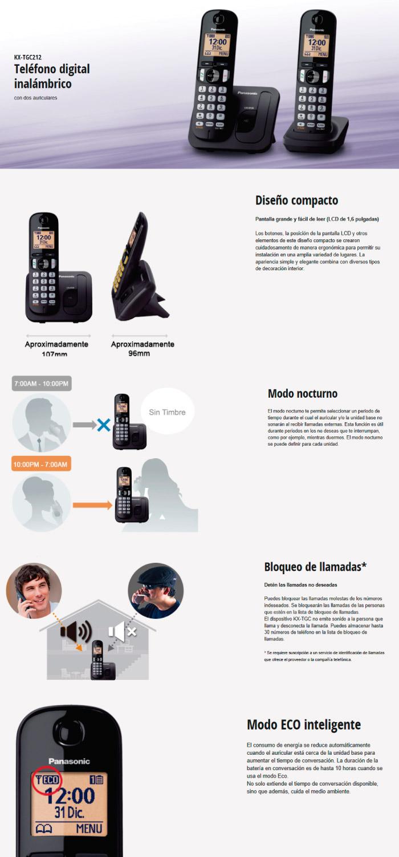 Teléfono Panasonic 2X1 TGC212L