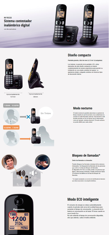 Teléfono Panasonic TGC222 2X1