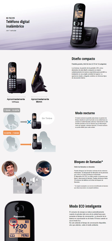 Teléfono Panasonic TGC210LAB
