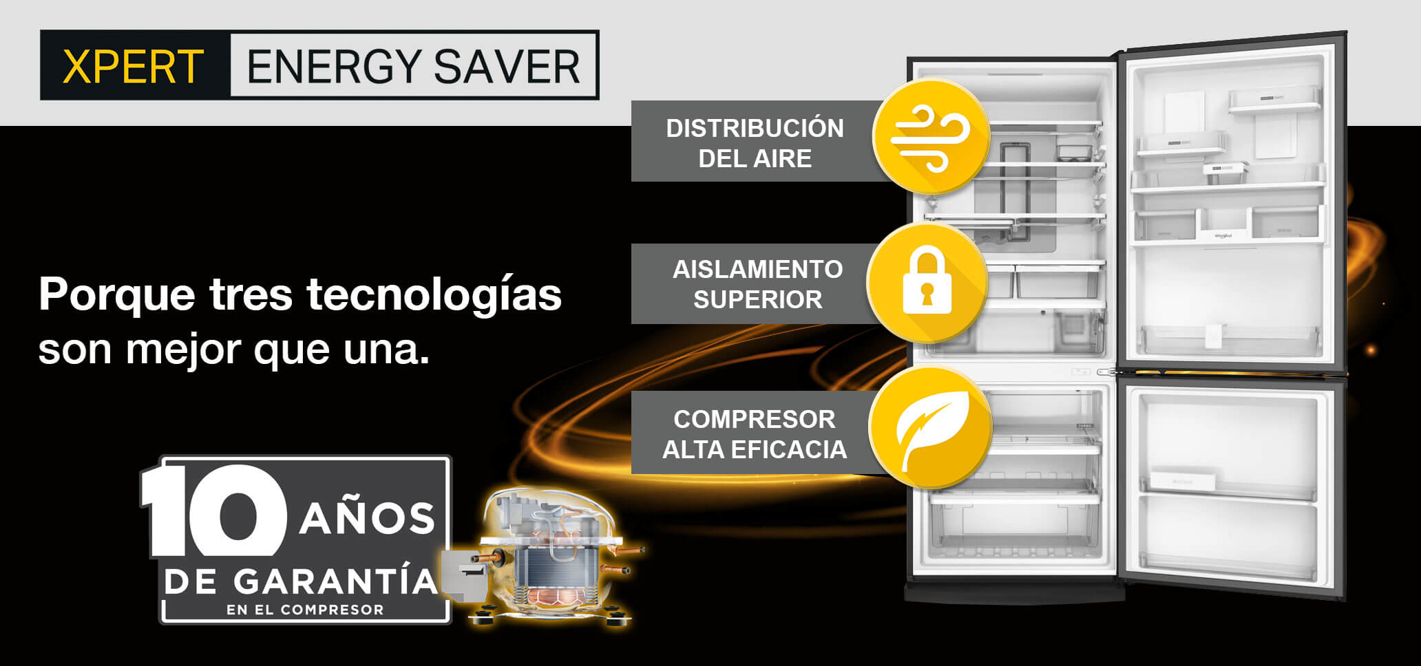 Tecnología Xpert Energy Saver de Whirlpool con tres tecnologías y 10 años de garantía en el compresosr.