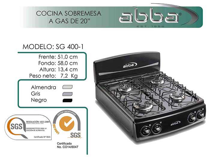 Estufa de Mesa ABBA T4P SG400-1 Gas Propano