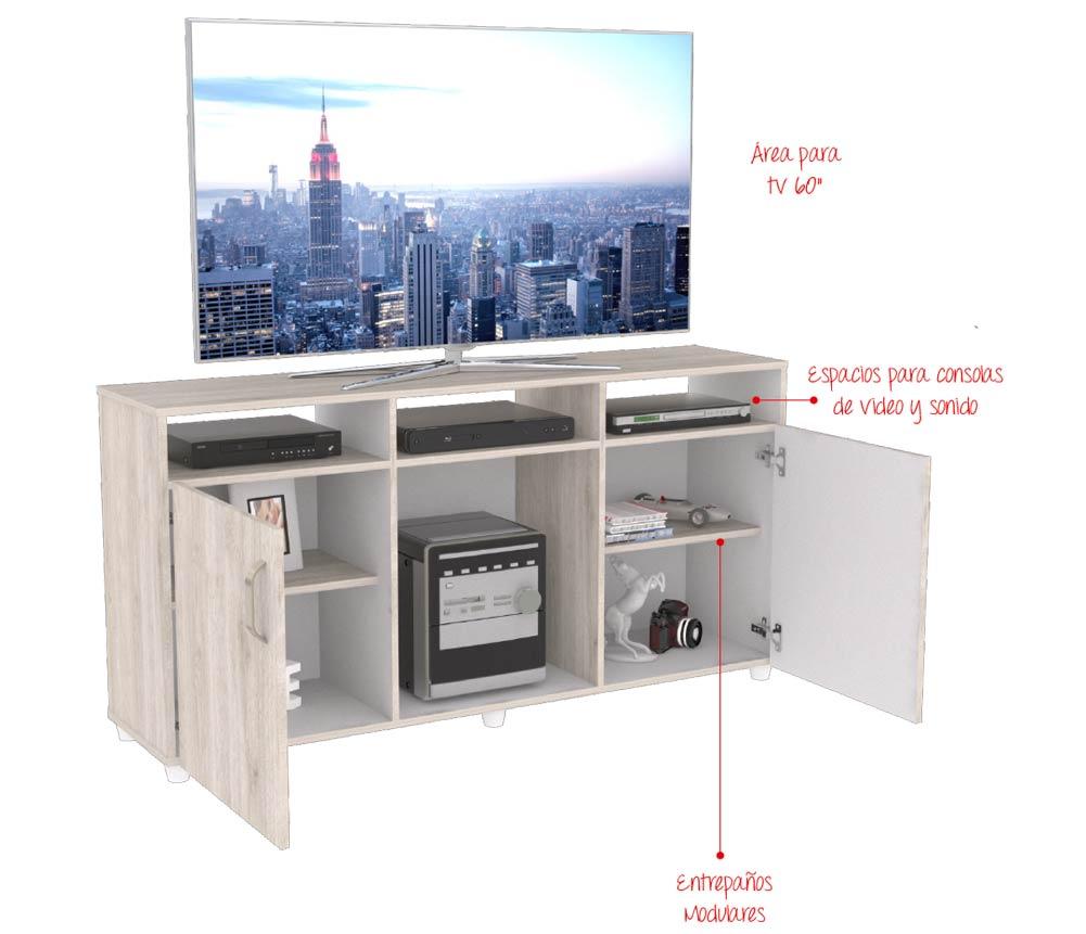 Mesa para tv 60 maderkit cali 140 ceniza alkosto tienda online - Tu mueble on line ...