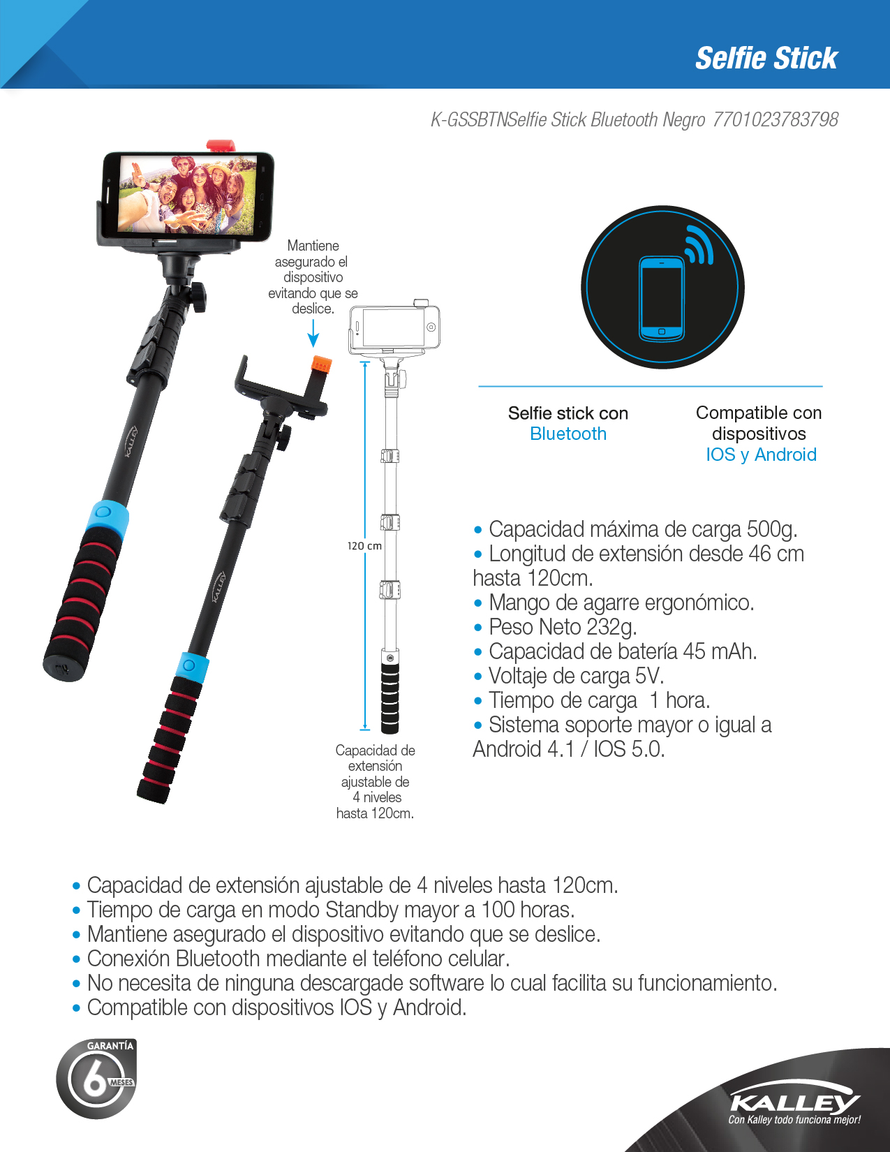 SELFIE STICK BLUETOOTH NEGRO
