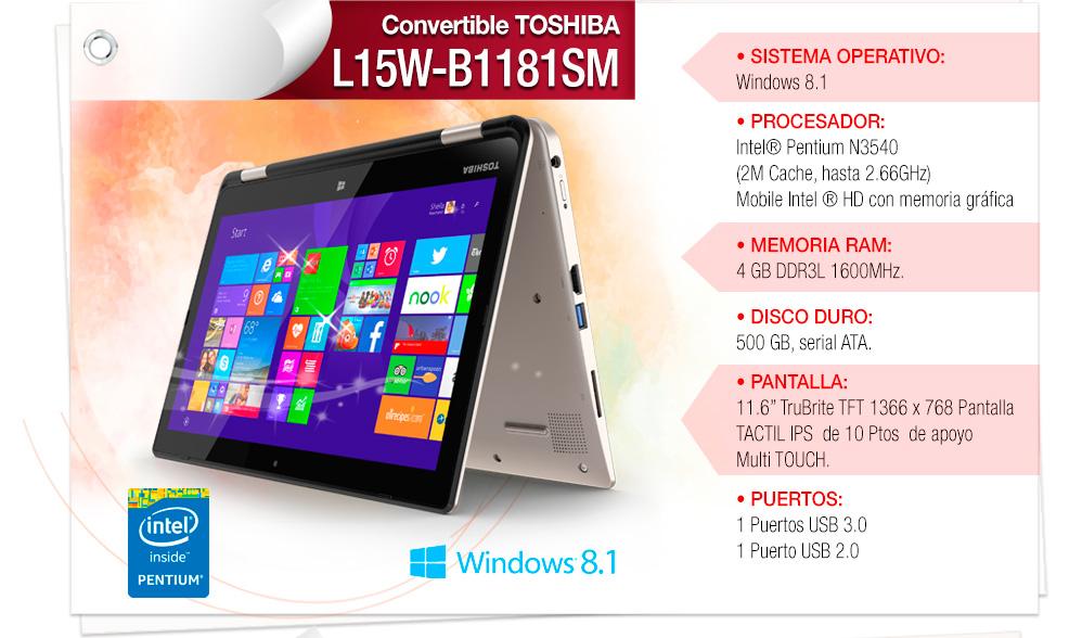 "• Procesador: Intel® Pentium® N3540 • Sistema Operativo: Windows 8.1 • Memoria: 4GB • Disco Duro: 500GB • Pantalla: 11.3"""