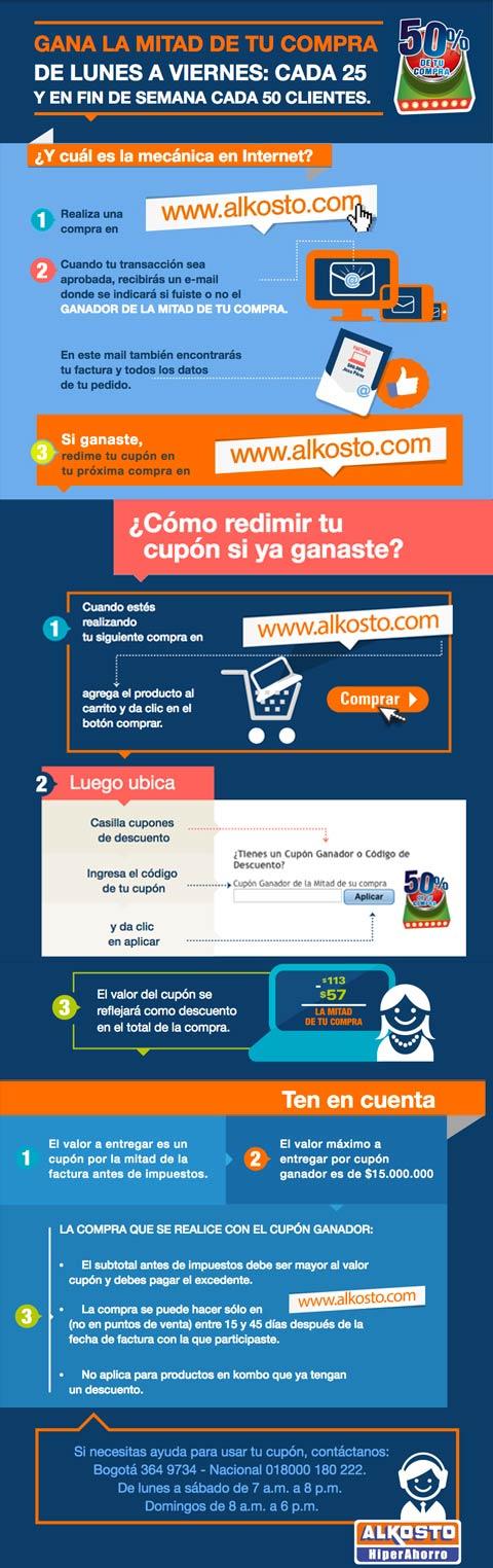 Gana la mitad de tu compra Alkosto Tienda Online