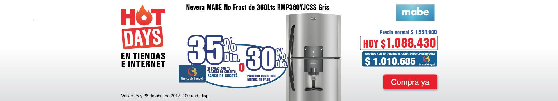 CAT ELECT - abril 25 - HOT SALE - Nevera MABE No Frost de 360Lts RMP360YJCSS Gris