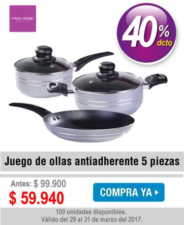 Juego de ollas antiadherente FREE HOME 5 piezas gris - banner oferta