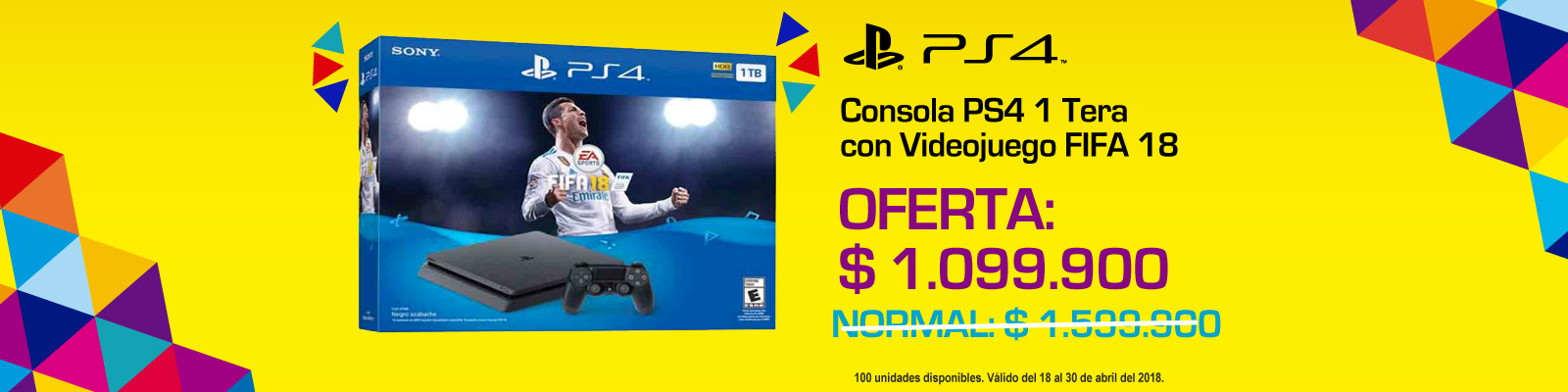 TOP PROMO ALKP-1-videojuegos-Consola PS4 1 Tera con Videojuego FIFA 18-prod-Abril18-20