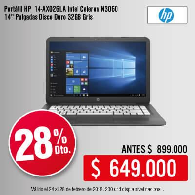BIG KT-1-computadores-Portátil HP 14-AX026LA Intel Celeron N3060 14
