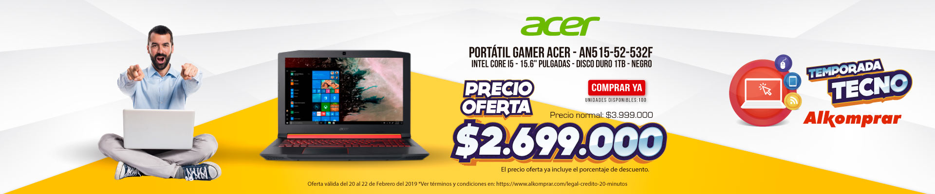BP ALKP Portátil Gamer ACER - AN515-52-532F