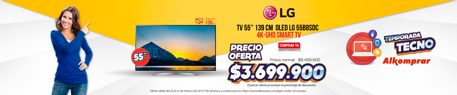 BP ALKP TV 55'' 139 cm OLED LG 55B8SDC 4K-UHD SMART TV