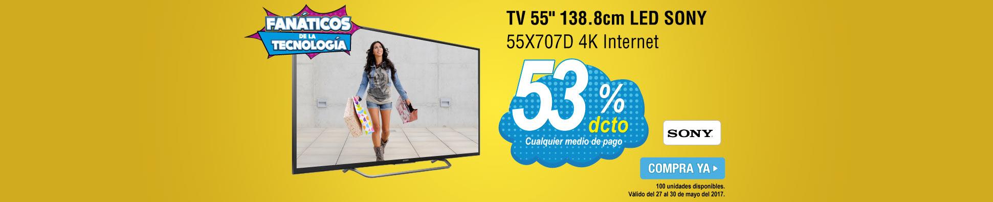 TV 55 138.8cm LED SONY 55X707D 4K Internet -banner opcional