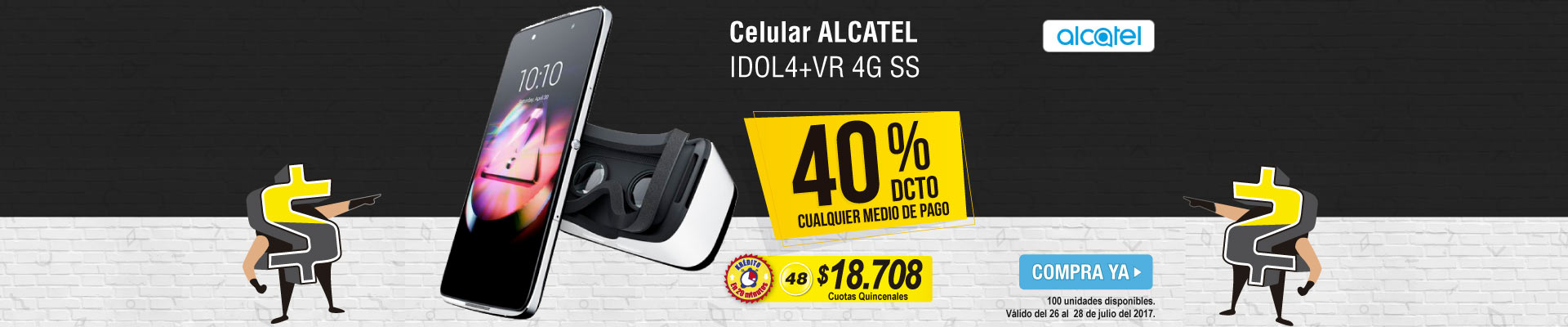 Celular ALCATEL IDOL4+VR 4G SS Negro - banner principal