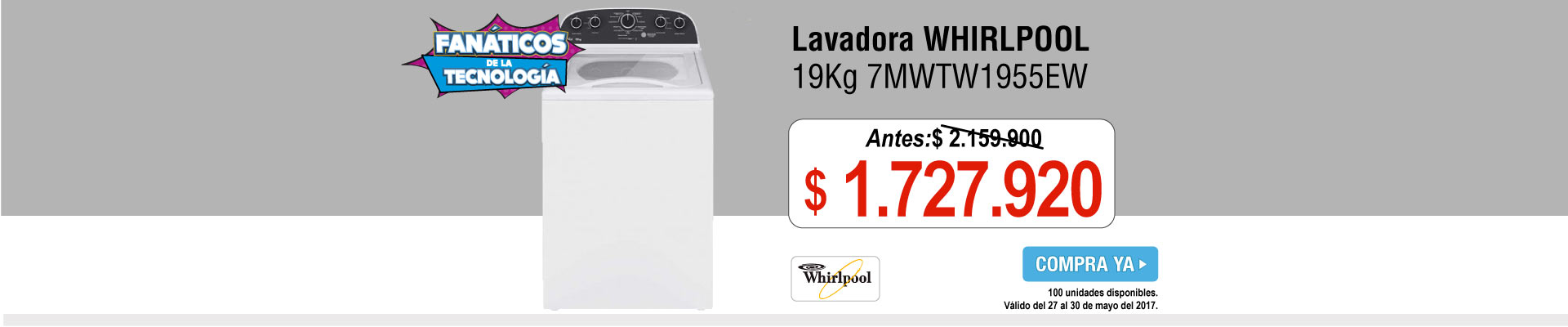 Lavadora WHIRLPOOL 19Kg 7MWTW1955EW - banner principal
