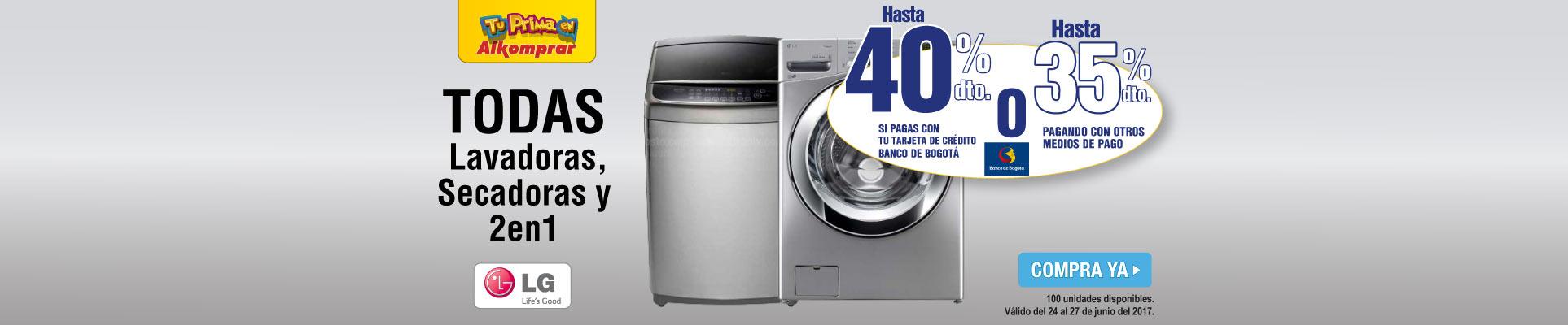 hasta 35 Dto. lavadoras y secadoras LG - banner principal