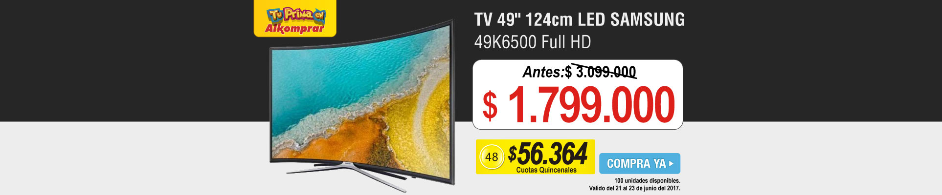 TV 49 124cm LED SAMSUNG 49K6500 Full HD - banner principal