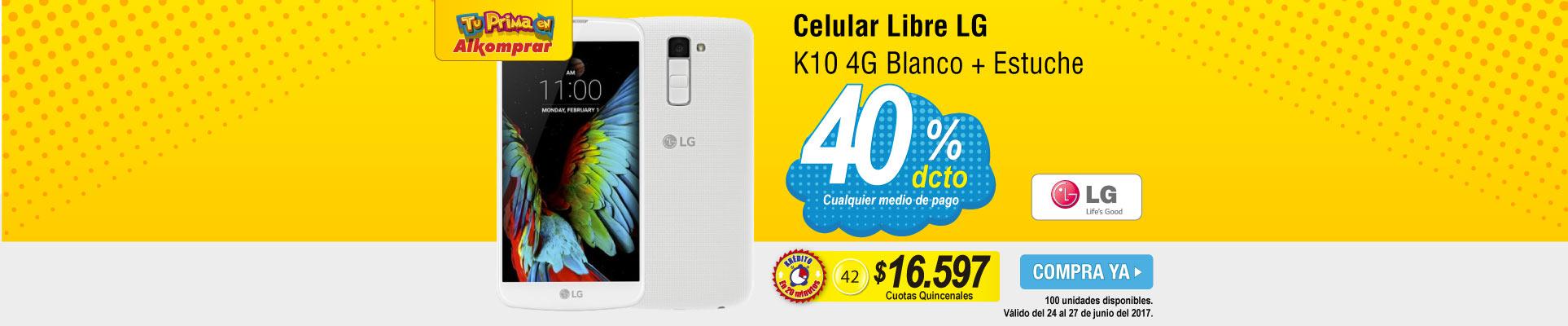 Celular LG K10 4G Blanco + Estuche - banner principal