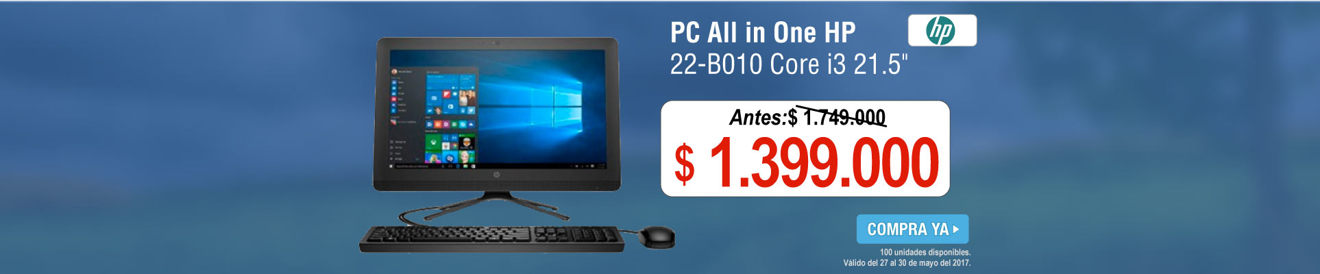 PC All in One HP 22-B010 Core i3 21.5 - banner principal