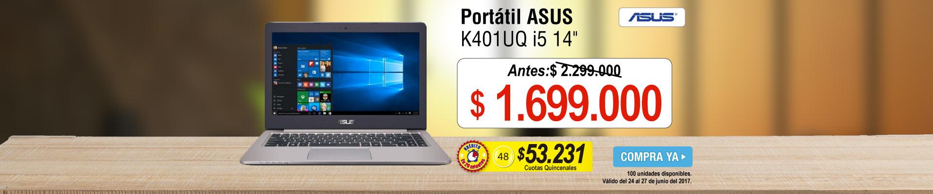 Portátil ASUS K401UQ i5 14 Plata - banner principal