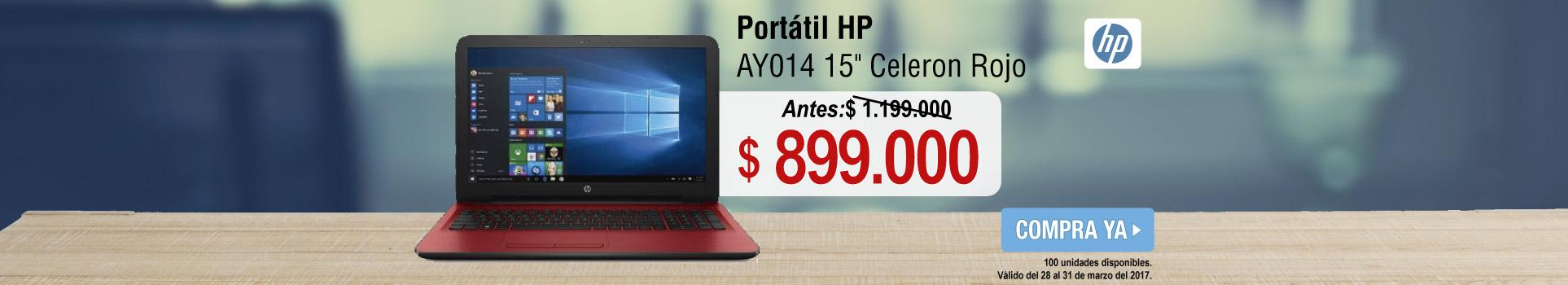 Portátil HP AY014 15 Celeron Rojo - banner principal