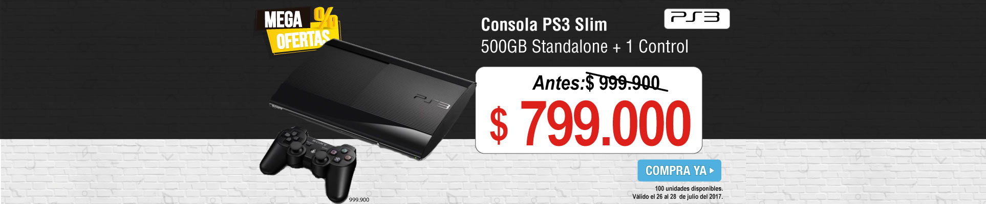 Consola PS3 Slim 500GB Standalone + 1 Control DualShock 3 -banner principal