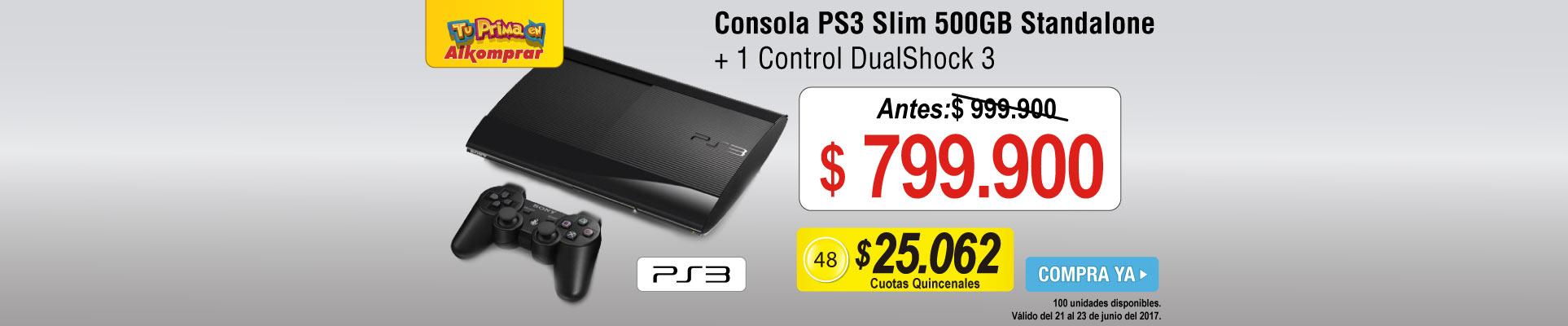 Consola PS3 Slim 500GB Standalone + 1 Control DualShock 3 - banner principal