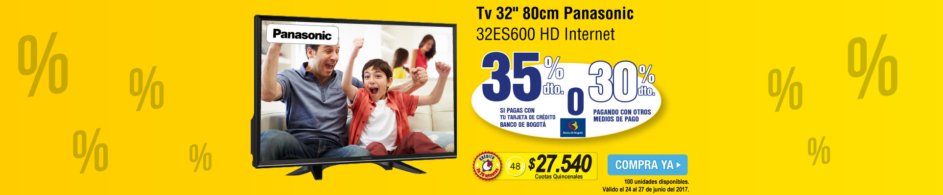 Tv 32 80cm Panasonic 32ES600 HD Internet - banner principal