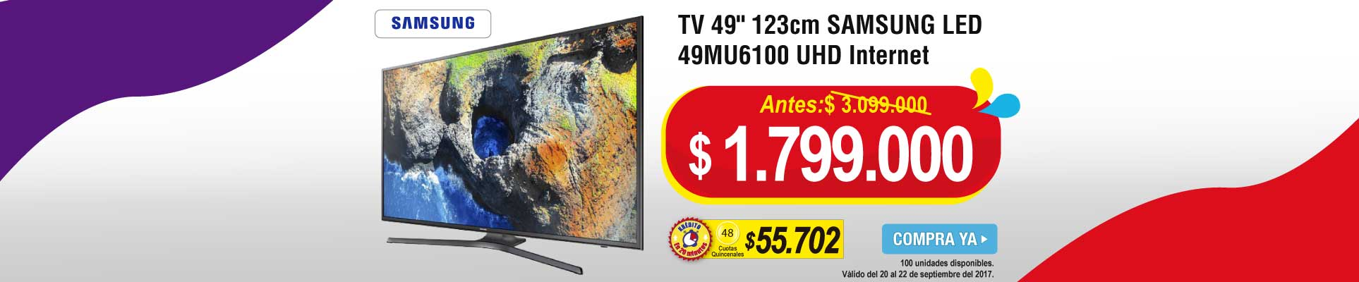 TV 49 123cm SAMSUNG LED 49MU6100 UHD Internet - televisores