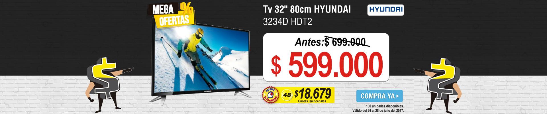 Tv 32 80cm HYUNDAI 3234D HDT2 - banner principal