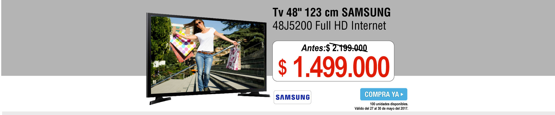 Tv 48 123 cm SAMSUNG 48J5200 Full HD Internet - banner principal