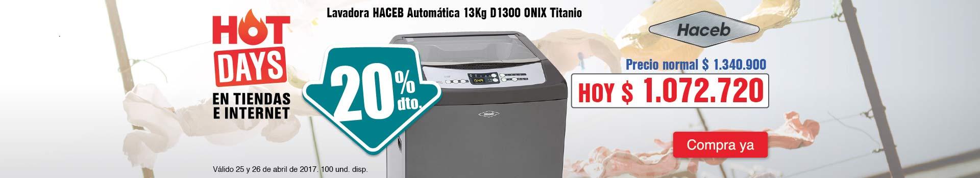 CAT ELECT - abril 25 - Lavadora HACEB Automática 13Kg D1300 ONIX Titanio
