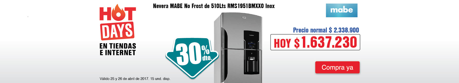 CAT ELECT - abril 25 - HOT SALE - Nevera MABE No Frost de 510Lts RMS1951BMXXO Inox