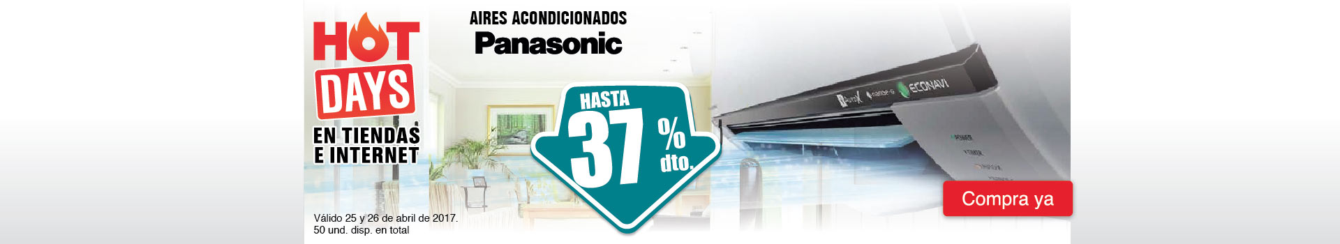 HIPER - abril 25 - HOT SALE - Hasta 37% dto en aires acondicionados PANASONIC