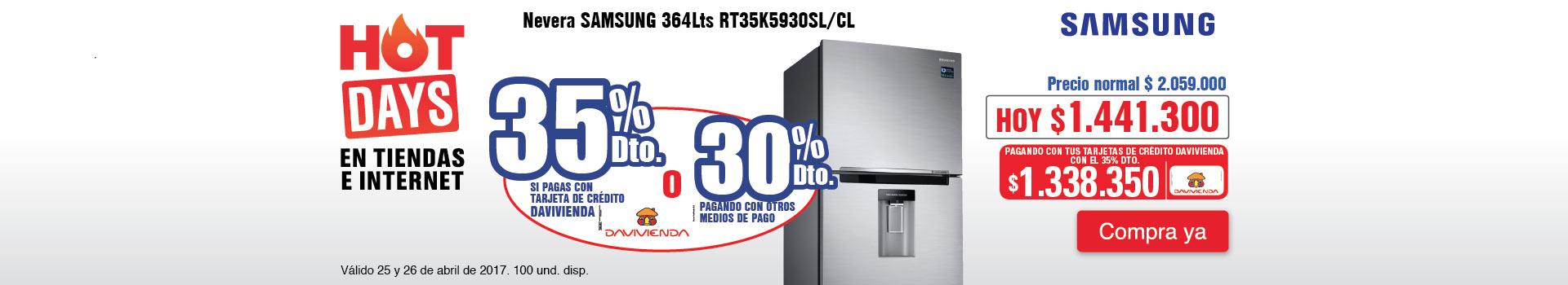CAT ELECT - abril 25 - HOT SALE - Nevera SAMSUNG 364Lts RT35K5930SL/CL