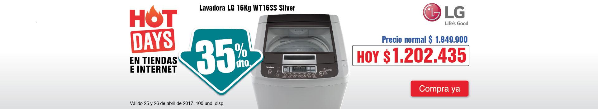 CAT ELECT  - abril 25 - HOT SALE - Lavadora LG 16Kg WT16SS Silver