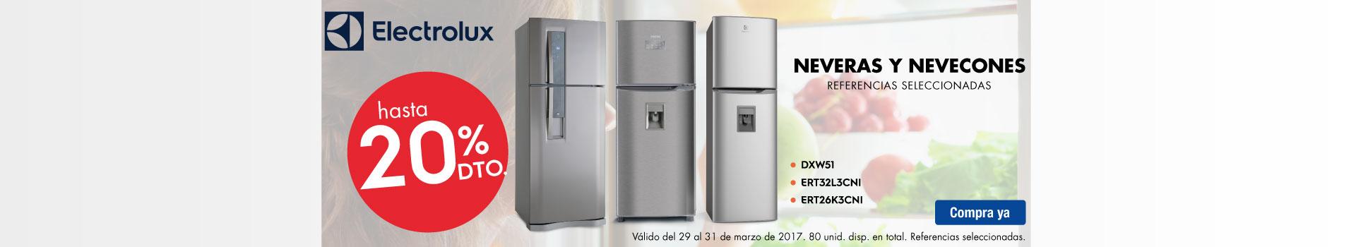 CAT NEV - marzo 29 - Hasta 20%Dto en Neveras y Nevecones ELECTROLUX - Ref. Seleccionadas