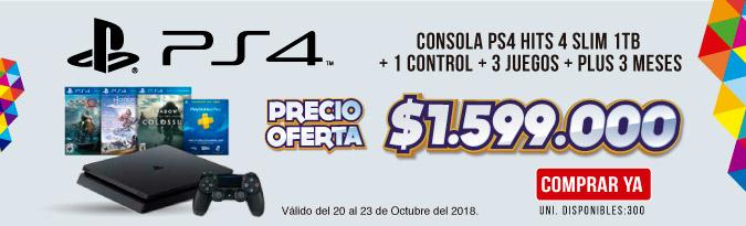 HB ALKP Consola Hits 4 Slim 1Tera + 1 Control +3 Juegos