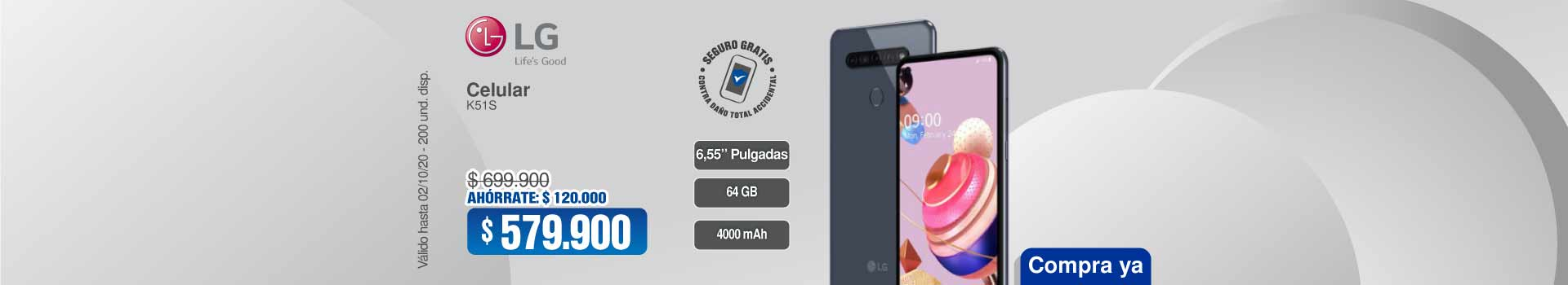 HIPEROFERTASCel4G-LG-K51S-64GB-DS-'Gr44106