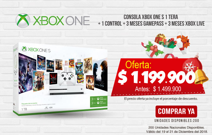 HT OFERTA Consola XBOX ONE S 1 Tera + 1 Control + 3 Meses Gamepass + 3 Meses XBOX LIVE