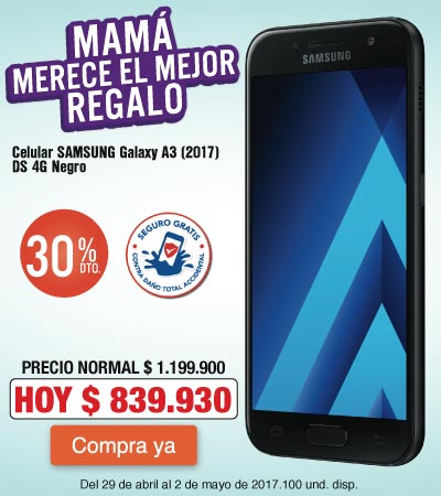 Megamenu KT - 30 dto en Celular SAMSUNG Galaxy A3 2017 - Abr29