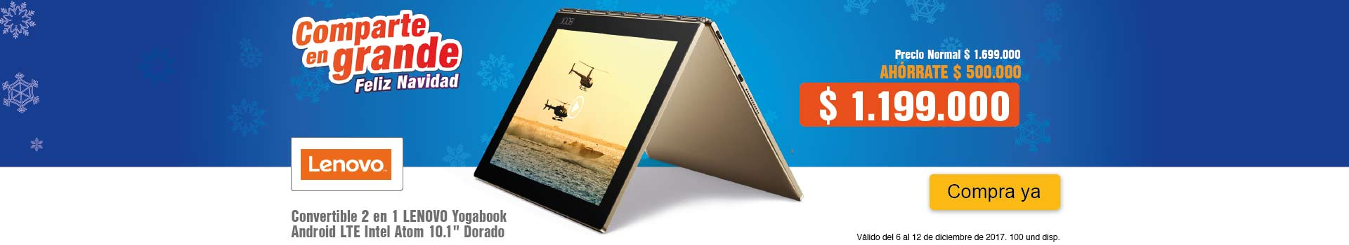 CAT AK-KT-1-computadores-Convertible 2 en 1 LENOVO - Yogabook Android LTE Intel Atom 10.1