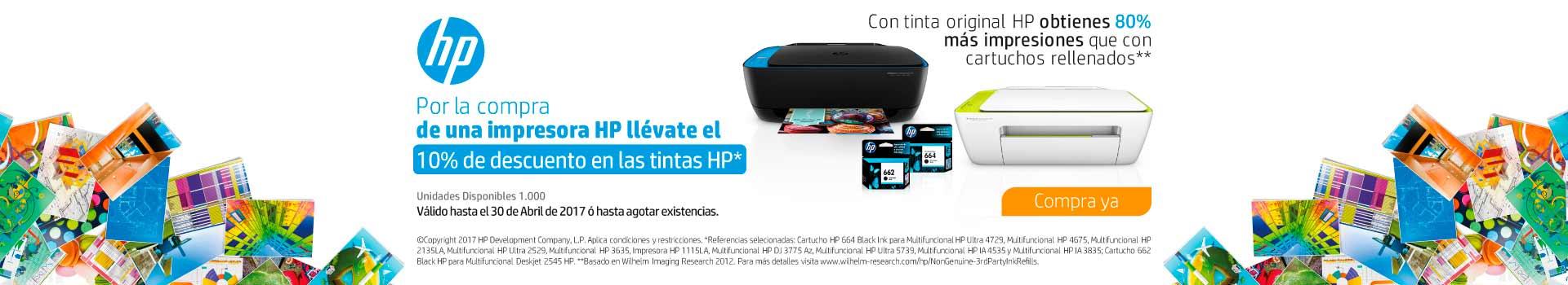 Pauta HP - CAT AK y KT INF - Comprando impresoras HP lleva 10% dto. en tintas HP - Abr 27