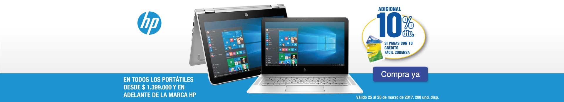 OPC KT - 10% Dto. Adicional Codensa en todos los portátiles desde $1.399.000 HP - Mar 25