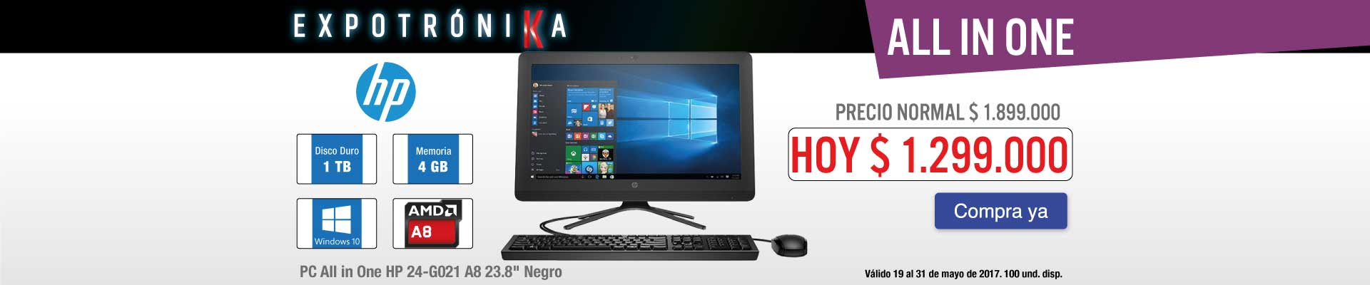 PPAL KT INF - PC All in One HP 24-G021 A8 23.8