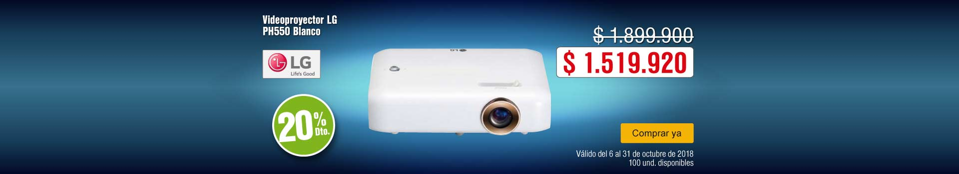 KT-BCAT-1-computadores y tablets-videoproyectores-PP---LG-Videoproyector PH550-Oct17