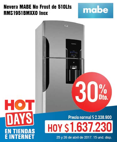 KT OFER - abril 25 - HOT SALE - Nevera MABE No Frost de 510Lts RMS1951BMXXO Inox