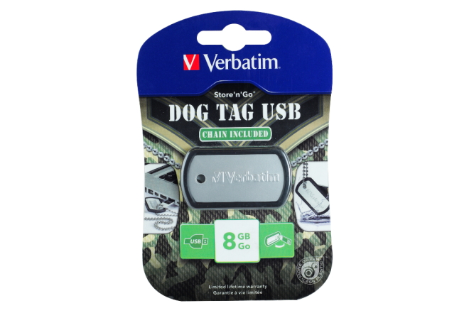 Memoria VERBATIM 8GB Dog Tag Negro