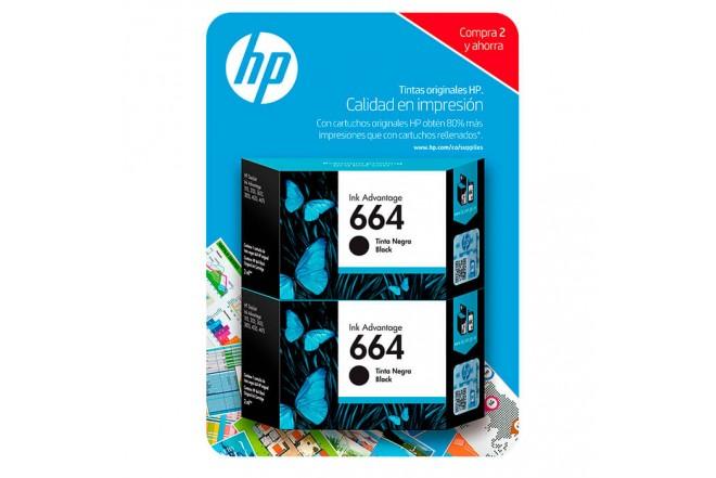 Cartucho de tinta HP 664 Negro Dual Pack4